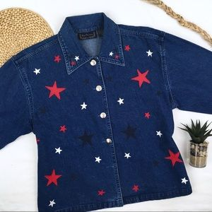 Vintage Stars Oversized Flag Denim Jacket